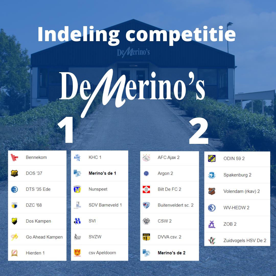 Indelingen competitie De Merino's 1&2 bekend!